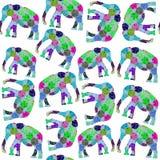 Modello senza cuciture dei retro elefanti geometrici e modello senza cuciture Fotografie Stock Libere da Diritti