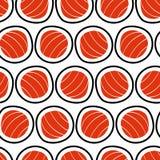 Modello senza cuciture dei sushi, disegnato a mano Emblema di alimento giapponese, spuntino del pesce, susi, ristorante esotico,  Fotografie Stock Libere da Diritti