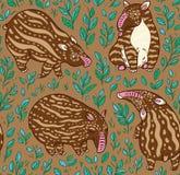 Modello senza cuciture dei tapiri del fumetto Tapiri di Brown con le bande leggere nelle foglie Illustrazione di vettore Fotografia Stock Libera da Diritti