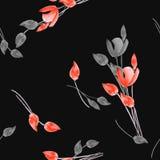 Modello senza cuciture dei tulipani dell'acquerello con i fiori rossi e grigi sui precedenti neri Immagine Stock Libera da Diritti