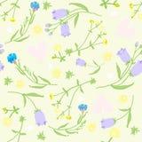 Modello senza cuciture dei wildflowers e dei cuori rosa Illustrazione di vettore Fotografie Stock