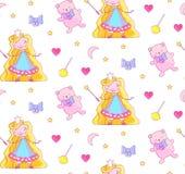 Modello senza cuciture del bambino della scuola materna con piccola principessa leggiadramente, Teddy Bear, la bacchetta magica,  Illustrazione di Stock