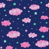 Modello senza cuciture del bambino delle nuvole e delle stelle rosa del turchese, su fondo scuro illustrazione di stock