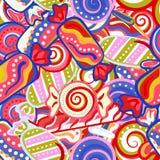 Modello senza cuciture del bastoncino di zucchero dolce variopinto squisito della lecca-lecca Illustrazione di vettore Fondo di f Fotografia Stock Libera da Diritti
