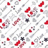 Modello senza cuciture del biglietto di S. Valentino con i cuori, frecce, ali, fiori a illustrazione di stock