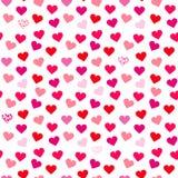 Modello senza cuciture del biglietto di S. Valentino con i cuori su fondo bianco illustrazione di stock