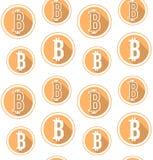 Modello senza cuciture del bitcoin di vettore Immagini Stock