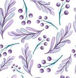 Modello senza cuciture del blu e di Violet Berries dell'acquerello Fotografia Stock