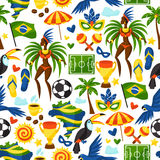 Modello senza cuciture del Brasile con gli oggetti stilizzati e Immagine Stock