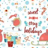 Modello senza cuciture del buon anno e di Natale con il pupazzo di neve, regali, caramella, citazione Fotografia Stock