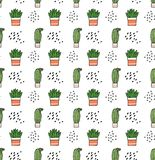 Modello senza cuciture del cactus nello scarabocchio di kawaii royalty illustrazione gratis