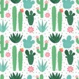 Modello senza cuciture del cactus Piante da appartamento esotiche dei cactus del deserto, ripetenti il fondo di vettore dei cactu illustrazione di stock