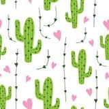 Modello senza cuciture del cactus sveglio con i cuori nei colori verdi, rosa e bianchi Fondo naturale di vettore immagini stock libere da diritti