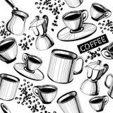 Modello senza cuciture del caffè Fotografie Stock Libere da Diritti