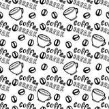 Modello senza cuciture del caffè con i chicchi di caffè, le tazze e l'iscrizione - pausa caffè Il modello può essere usato per le Immagini Stock