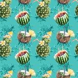 Modello senza cuciture del cocktail di frutta dell'ananas, della noce di cocco e del wat Immagini Stock