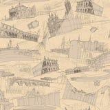 Modello senza cuciture del collage italiano storico di architettura Immagini Stock