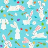Modello senza cuciture del coniglio bianco sveglio Immagini Stock