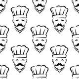 Modello senza cuciture del cuoco unico Mustached Fotografia Stock