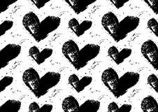 Modello senza cuciture del cuore Cuori dipinti a mano con i bordi approssimativi Fotografia Stock Libera da Diritti