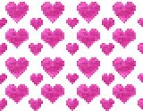 Modello senza cuciture del cuore del pixel Immagini Stock