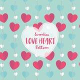 Modello senza cuciture del cuore di amore su colore pastello romantico Illustrazione di vettore Immagini Stock