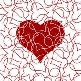 Modello senza cuciture del cuore per la carta di giorno di biglietti di S. Valentino fotografia stock libera da diritti