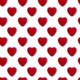 Modello senza cuciture del cuore rosso del velluto Immagini Stock
