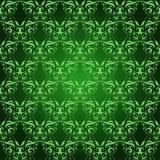 Modello senza cuciture del damasco d'annata su verde Fotografia Stock Libera da Diritti