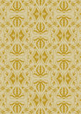 Modello dorato del damasco dell'annata Fotografie Stock Libere da Diritti
