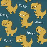 Modello senza cuciture del dinosauro puerile illustrazione per la maglietta, modo dei bambini, tessuto di vettore illustrazione di stock