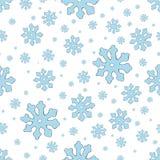 Modello senza cuciture del fiocco di neve blu Fondo d'annata di inverno Accumulazione di natale Illustrazione di vettore illustrazione vettoriale