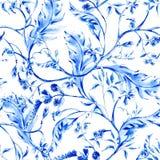 Modello senza cuciture del fiore blu dell'acquerello illustrazione vettoriale
