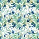 Modello senza cuciture del fiore blu romantico dell'acquerello con luce g Fotografie Stock Libere da Diritti