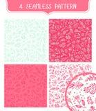 Modello senza cuciture del fiore di scarabocchio Fondo rosa floreale sveglio Illustrazione di Stock