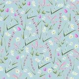 Modello senza cuciture del fiore disegnato a mano d'annata dell'acquerello royalty illustrazione gratis