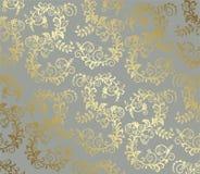 Modello senza cuciture del fogliame dell'oro su fondo grigio illustrazione di stock