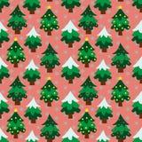 Modello senza cuciture del fondo dell'albero di tema di Natale Fotografia Stock Libera da Diritti
