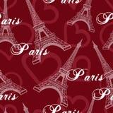 Modello senza cuciture del fondo della torre Eiffel Fotografia Stock Libera da Diritti