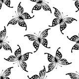 Modello senza cuciture del fondo delle farfalle di volo Fotografie Stock