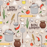 Modello senza cuciture del fondo di Bon Appetit Immagine Stock Libera da Diritti