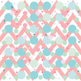 Modello senza cuciture del fondo di verde blu di rosa di zigzag di Chevron Bande geometriche del pois di vettore illustrazione di stock