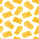 Modello senza cuciture del formaggio isolato su fondo bianco Fotografie Stock