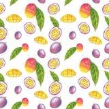 Modello senza cuciture del frutto della passione e del mango, illustrazione dell'acquerello illustrazione vettoriale