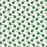 Modello senza cuciture del fumetto dell'anguria divertente verde della frutta Fotografie Stock