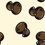 Modello senza cuciture del fumetto della noce di cocco piana sveglia di stile illustrazione di stock