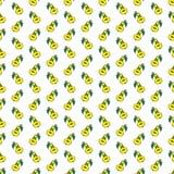 Modello senza cuciture del fumetto della pera divertente gialla della frutta illustrazione di stock
