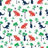 Modello senza cuciture del fumetto di vettore, orso di koala australiano degli animali selvatici, canguro, cipresso, albero della royalty illustrazione gratis