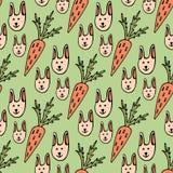 Modello senza cuciture del fumetto divertente per i bambini o il fondo di pasqua Conigli e carote Immagini Stock