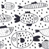 Modello senza cuciture del fumetto del pesce sveglio di vettore illustrazione vettoriale